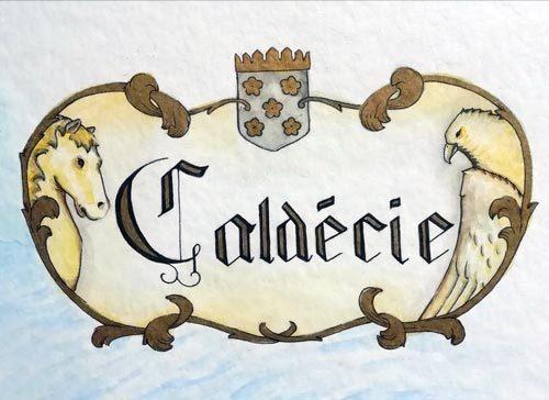 blason de la Caldécie - aquarelle et encre - Eva Martin