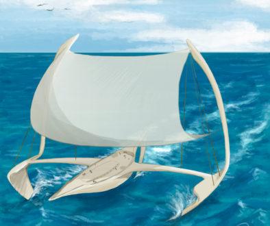 mostarki, bateau volant hydroptère - miska - illustraion Eva Martin